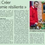 « Créer une économie résiliente », un article dans Le Soir du 12/11/2013
